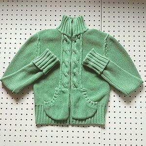 Old Navy Green Chunky Knit Zipper Cardigan Size S
